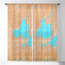 Madison, WI, USA, Gold, Blue, City, Map Sheer Curtain