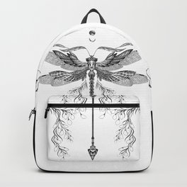 Dragon Fly Tattoo Black and White Backpack