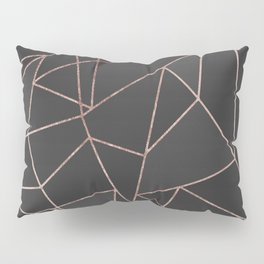 Chic Rose Gold Geometric Outline on Black Charcoal Pillow Sham