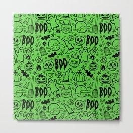Spooky Pattern - Lime Green Metal Print