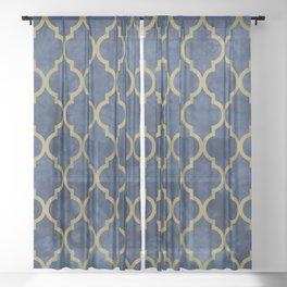 Classic Quatrefoil Lattice Pattern 428 Blue and Gold Sheer Curtain