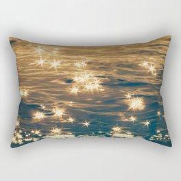 Sparkling Ocean in Gold and Navy Blue Rectangular Pillow