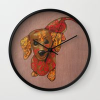 dachshund Wall Clocks featuring Dachshund by K.ForstnerArt