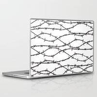 the wire Laptop & iPad Skins featuring Barbed Wire by Elena O'Neill
