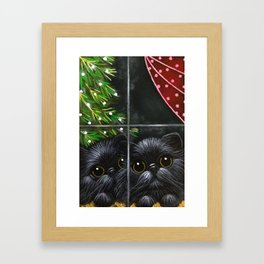 2 BLACK PERSIAN KITTENS - WAITING FOR SANTA Framed Art Print