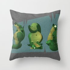 3 dragons in a cave Throw Pillow