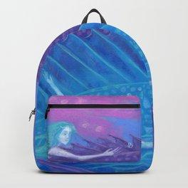 Ocean Nomads, Mermaids and Fish, Blue Pink Purple Backpack
