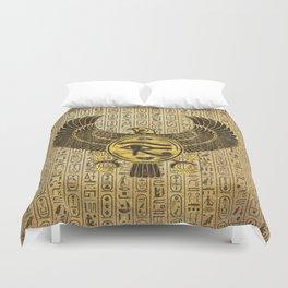 Egyptian Eye of Horus - Wadjet Gold and Wood Duvet Cover