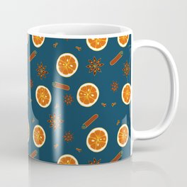 Orange Slices and Spices on Blue Coffee Mug