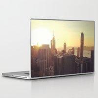 hong kong Laptop & iPad Skins featuring hong kong sundown by Gray