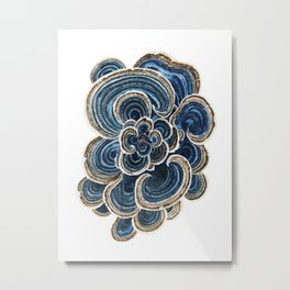 Blue Trametes Mushroom Metal Print