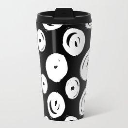 White Swirls Abstract Pattern Travel Mug