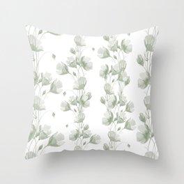 Vintage green white elegant floral illustration Throw Pillow