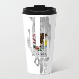 Illinois Typographic Flag Map Art Travel Mug