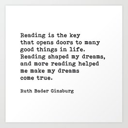 RGB, Reading Is the Key That Opens Doors, Motivational, Quote Art Print