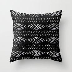 mudcloth 4 minimal textured black and white pattern home decor minimalist Throw Pillow