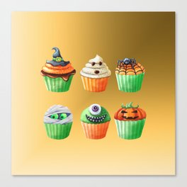 Halloween Cupcakes on a Golden Background Canvas Print
