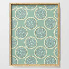1950s Style Flower Polka Dots Seamless Pattern Serving Tray