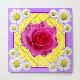 Yellow & Lilac Color Shasta Daisies & Fuchsia Pink Rose Pattern Metal Print