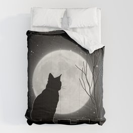 Silent Night Cat and full moon Comforters