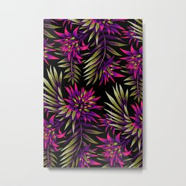 Aechmea Fasciata - Dark Purple / Gold Metal Print