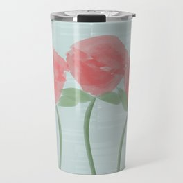 Red Watercolor Roses Travel Mug