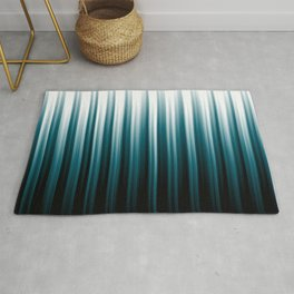 Tropical Dark Teal Inspired by 2020 Color Oceanside SW6496 Soft Vertical Blurred Line Pattern Rug