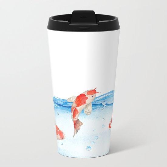 Happy koi fish- fishes sea water lake Metal Travel Mug