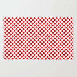 Polka Dot Red and White Pattern Rug