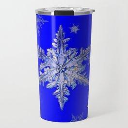 """""""MORE BLUE SNOW"""" BLUE WINTER ART DESIGN Travel Mug"""