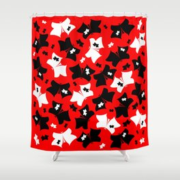 The pattern of butterflies. White and black butterfly on a red background. Shower Curtain