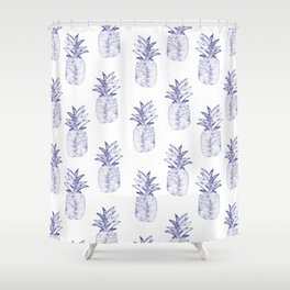 Blue Pineapple Shower Curtain