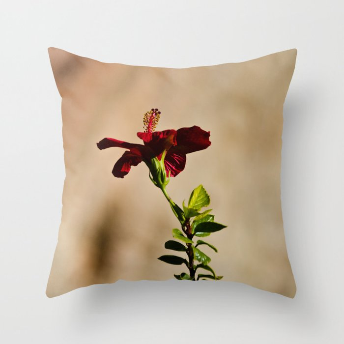 The Red Flower Throw Pillow
