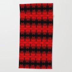 Red Black Diamond Gothic Pattern Beach Towel