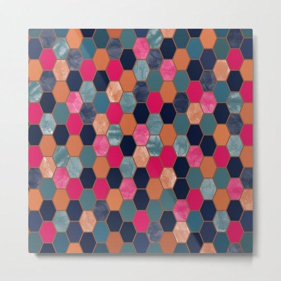Colorful Honeycomb Metal Print