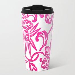 Pink White Ombre Japanese Leaf Pattern Travel Mug