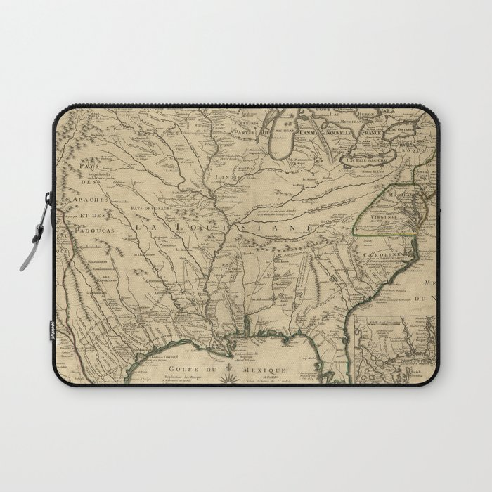 Map of America from Rio Grande River to Hudson River (1718) Laptop Sleeve  by thearts