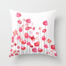 Poppies in Pink Throw Pillow