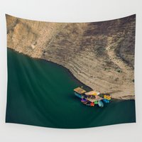 boats Wall Tapestries featuring Colourful Boats by Katayoon Photography