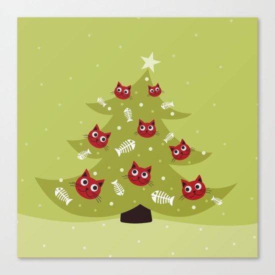 Cat Christmas Tree Canvas Print