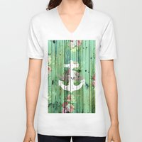 preppy V-neck T-shirts featuring Vintage Floral Nautical Anchor Green Beach Wood by Girly Trend