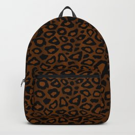 Brown and Black Leopard Pattern Backpack