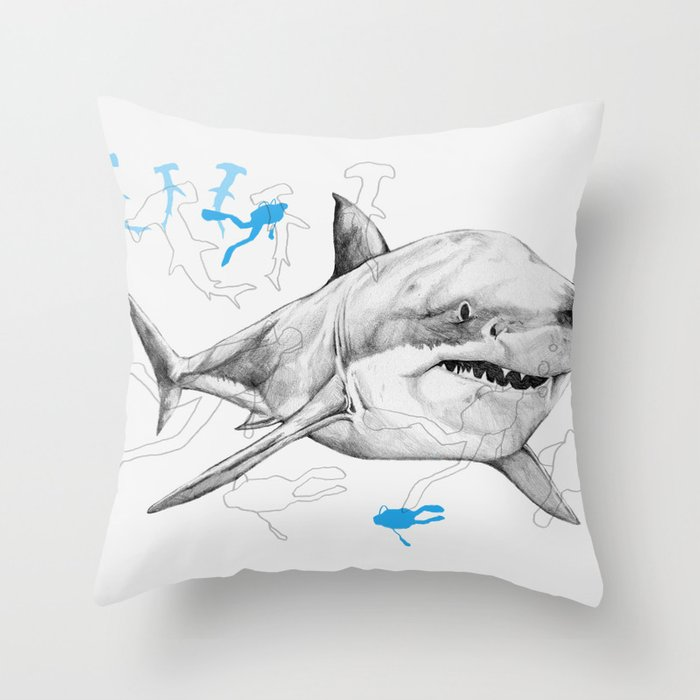'Sharks & Silhouettes' Throw Pillow