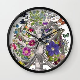 Anatomical ribs and flowers by Fleuriosity Wall Clock