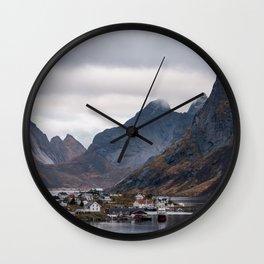 Reine soft light, Lofoten Wall Clock