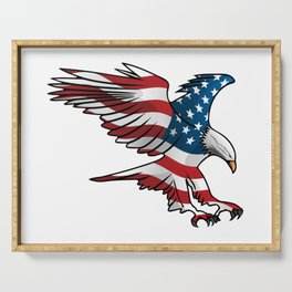 Patriotic Flying American Flag Eagle Serving Tray