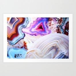Agate, a vivid Metamorphic rock on Fire Art Print