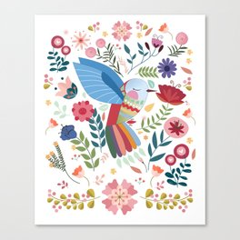 Folk Art Inspired Hummingbird In A Burst Of Springtime Blossoms Canvas Print