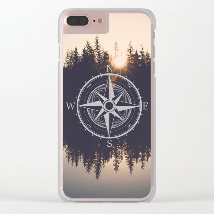 Wooded Lake Reflection Compass Clear iPhone Case
