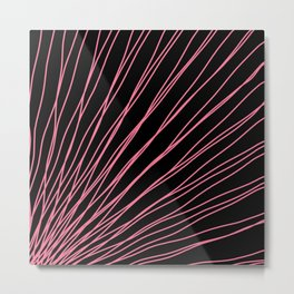 Rays of pink light with intersecting waves on black. Metal Print